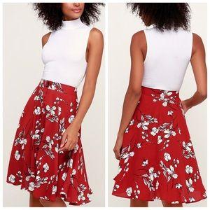 Lulus love blooms rust red floral midi skirt